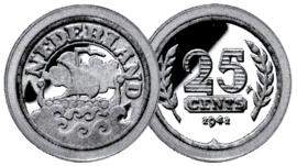Koningin Wilhelmina 25 cents 1942