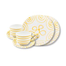 Ontbijt set voor twee set - Geflammt geel cadeauverpakking