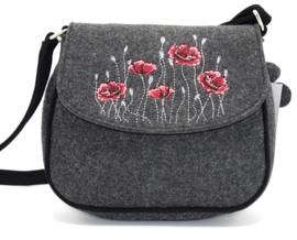 Vilten handtasje met klaproos motief in rood - donkergrijs