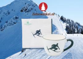 Theebeker en servetten met Toni der Skifahrer - grijs