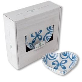 Schaaltje hart Geflammt blauw - 10 cm cadeauverpakking