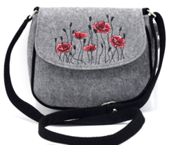 Vilten handtasje met klaproos motief in rood - lichtgrijs