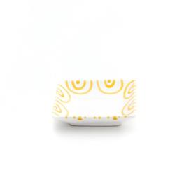Snackschaal vierkant Geflammt geel - 11 x 11 cm