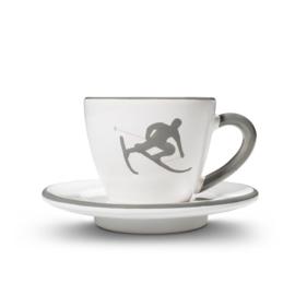 Espresso-set Toni der Skifahrer grijs