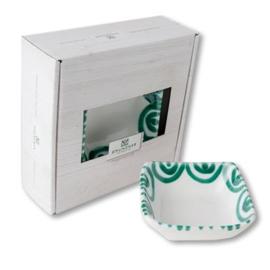 Schaaltje vierkant Geflammt groen - 9 x 9 cm cadeauverpakking