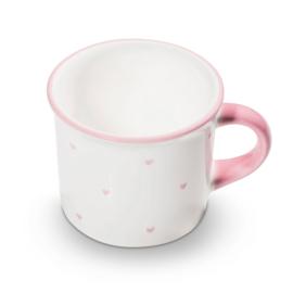 Koffiebeker hartjes roze - 0,24 l