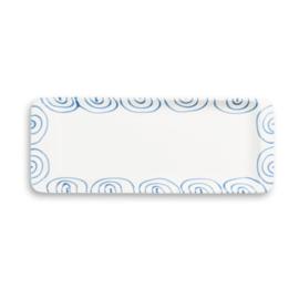 Stollenschaal Geflammt blauw - 42 x 16 cm
