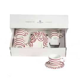 Espresso voor vrienden set - Geflammt rood cadeauverpakking