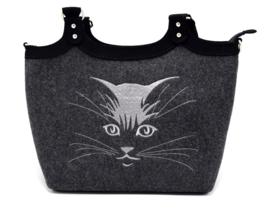 Vilten tas met kat motief - donkergrijs