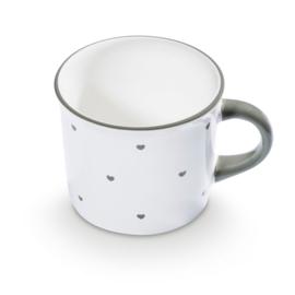 Koffiebeker hartjes grijs - 0,24l