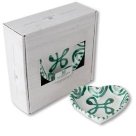 Schaaltje hart Geflammt groen - 10 cm cadeauverpakking