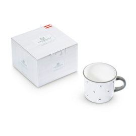 Koffiebeker hartjes grijs cadeauverpakking - 0,24l