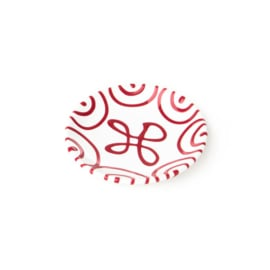 Schoteltje koffiekopje en theekopje Geflammt rood-  15 cm