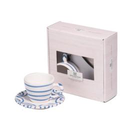 Espresso voor jou set - Geflammt blauw cadeauverpakking