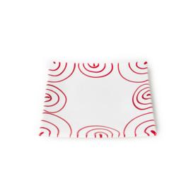 Dessertbord vierkant Geflammt rood - 20 x 20 cm
