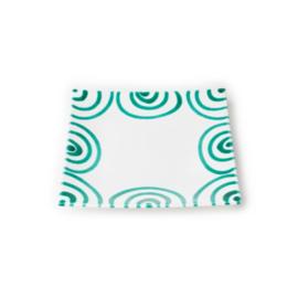 Dessertbord vierkant Geflammt groen - 20 x 20 cm