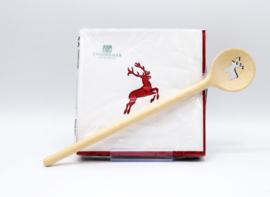 Servetten en houten kooklepel - Hertje robijnrood