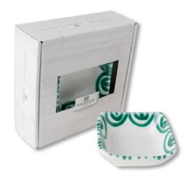 Schaaltje vierkant - Geflammt groen cadeauverpakking
