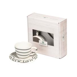 Espresso voor jou set - Geflammt grijs cadeauverpakking