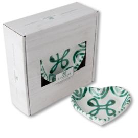 Schaaltje hart - Geflammt groen cadeauverpakking