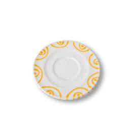 Schoteltje cappuccinokopje Geflammt geel - 14 cm