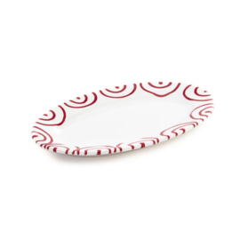 Serveerschaal ovaal Geflammt rood - 21 x 14 cm