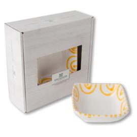 Schaaltje vierkant - Geflammt geel cadeauverpakking