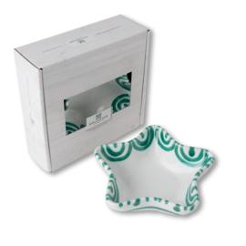 Schaaltje ster Stella Geflammt groen - 14 cm cadeauverpakking