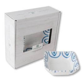 Schaaltje vierkant - Geflammt blauw cadeauverpakking