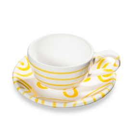 Moccaset 2-delig - Geflammt geel cadeauverpakking
