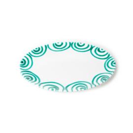 Serveerschaal ovaal plat Geflammt groen  - 28 x 21 cm