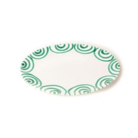 Serveerschaal ovaal plat Geflammt groen  - 33 x 26 cm