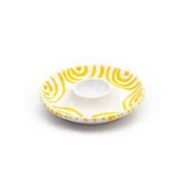 Eierdopje glad Geflammt geel - 12 cm