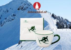 Theebeker en servetten met Toni der Skifahrer - groen