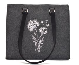Vilten tas met bloem motief en Swarovski steentjes - donkergrijs