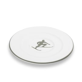Schoteltje voor koffiekopje Toni der Skifahrer grijs - 16 cm