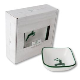 Schaaltje vierkant - Hert groen cadeauverpakking