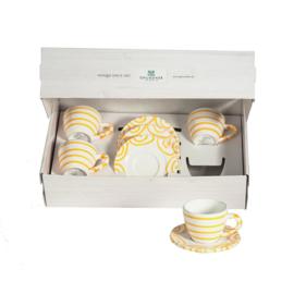 Espresso voor twee set - Geflammt geel cadeauverpakking