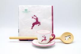 Espresso set - servetten & houten kooklepel - roze