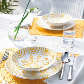 Schotelje voor moccakopje Geflammt geel - 11 cm