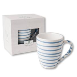 Koffiebeker Max  - Geflammt blauw cadeauverpakking