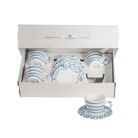 Espresso voor vrienden set - Geflammt blauw cadeauverpakking