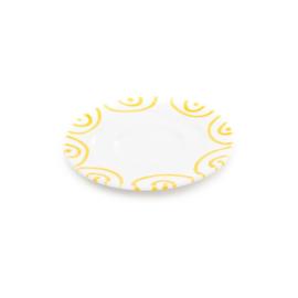 Schoteltje voor koffiekopje Geflammt geel - 16 cm
