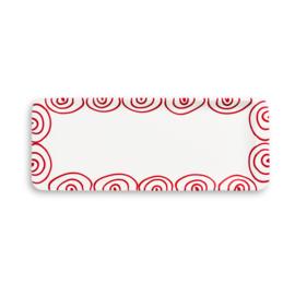 Stollenschaal Geflammt rood - 42 x 16cm