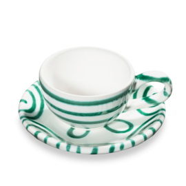Moccaset 2-delig  - Geflammt groen cadeauverpakking