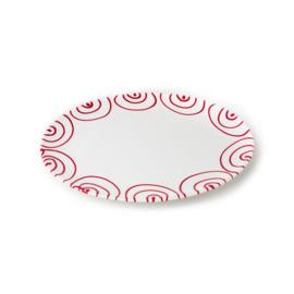 Serveerschaal ovaal plat Geflammt rood - 28 x 21 cm