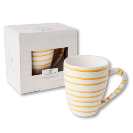 Koffiebeker Max  - Geflammt geel cadeauverpakking