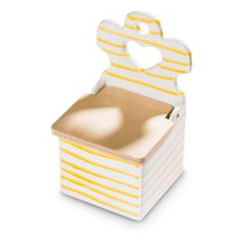 Zoutpot met houten deksel - Geflammt geel 18 cm