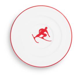 Schoteltje voor koffiekopje Toni der Skifahrer robijnrood  - 16 cm