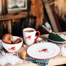 Espresso-set Toni der Skifahrer robijnrood